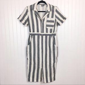 ASOS Linen Striped Short Sleeve Shirt Dress